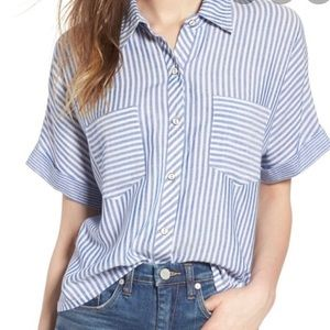 Blue and white Socialite striped top